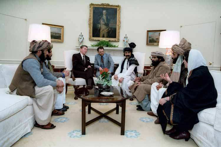 President Reagan meeting with Afghan Freedom Fighters from Reagan Library online